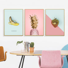 Load image into Gallery viewer, Pineapple strawberry canvas print painting