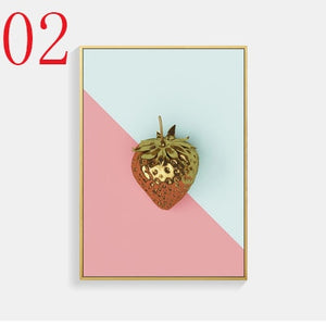 Pineapple strawberry canvas print painting