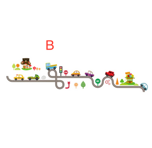 Highway track cartoon car bus wall sticker