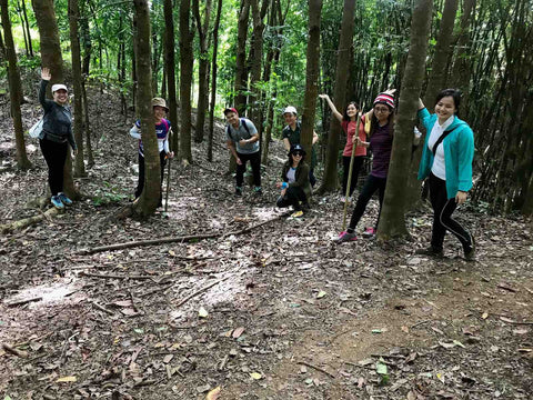 Group of participants pose with trees as we walked through Mount Paliparan Rizal