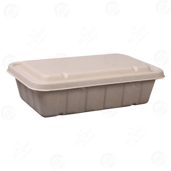 Sugarcane Rectangle Box XL with Lid (2500ml)