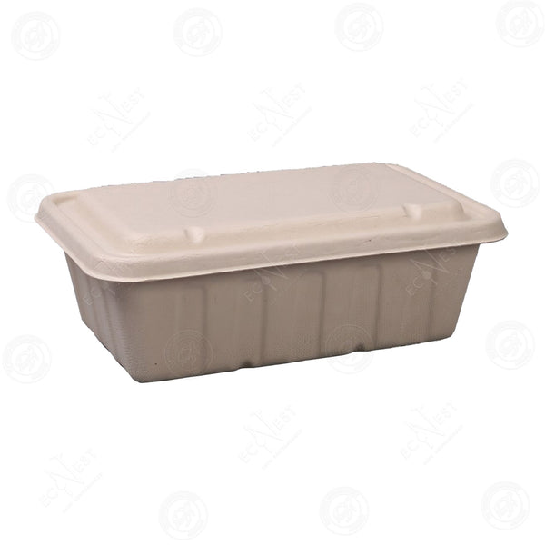 Sugarcane Rectangle Box XXL with Lid (3000ml)