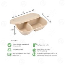 Load image into Gallery viewer, Sugarcane Oval Bowl 2-Compartment with Lid Large (850 ml)