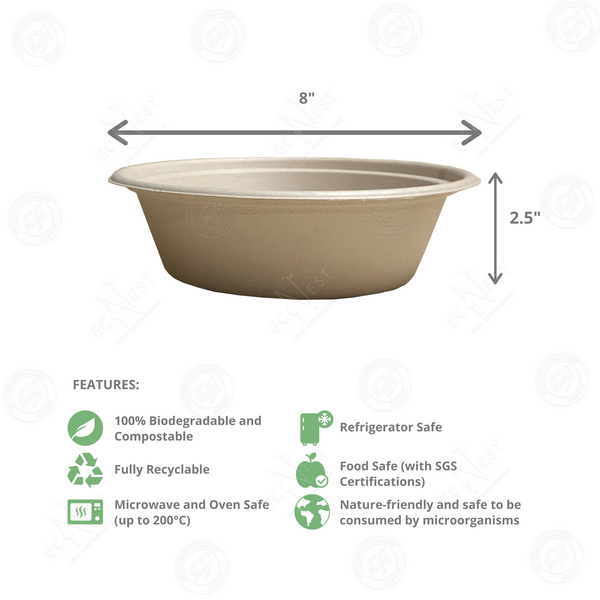 Sugarcane Round Bowl Large with Lid (1200ml)