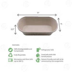 Sugarcane Oval Bowl with Lid Large (1000 ml)