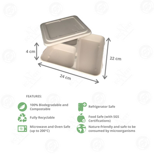 Sugarcane Bento Tray 3-Compartment with Lid (1200ml)