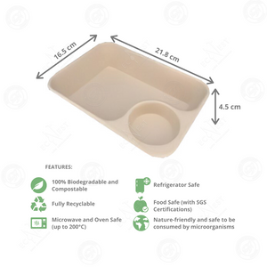 Sugarcane Rectangle Snack Tray with Dip (950 ml) Box