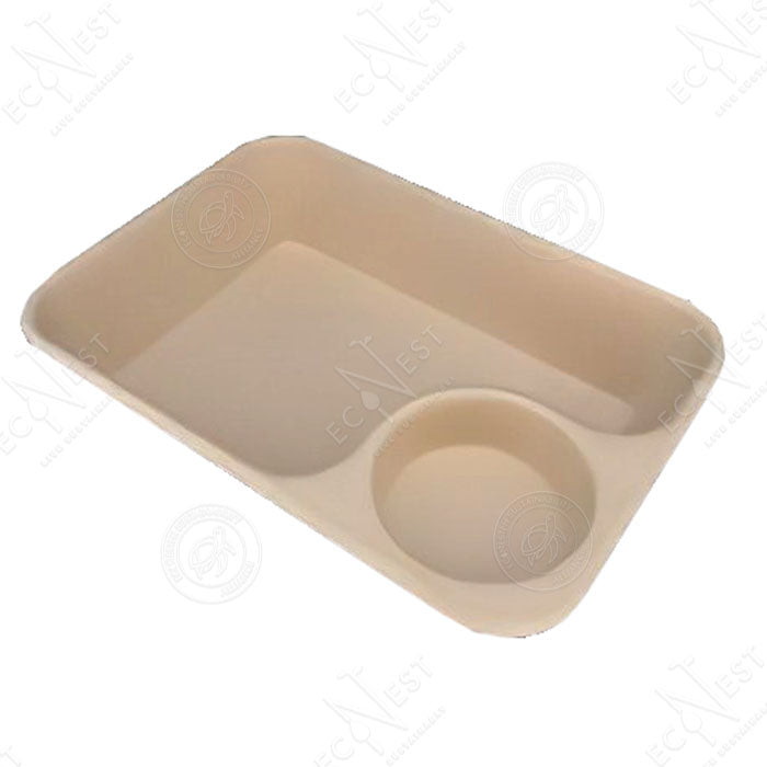Sugarcane Rectangle Snack Tray with Dip (950 ml)