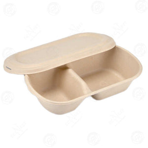 Sugarcane Oval Bowl 2-Compartment with Lid Large (850 ml)