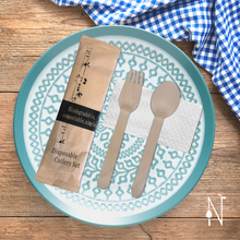 Load image into Gallery viewer, Birchwood Cutlery Set in Kraft Pouch (Spoon, Fork, and Tissue)