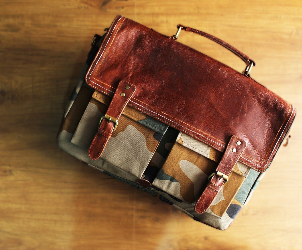 Urbane | The Modern Laptop Bag - Laptop Bag Custom Made Canvas Bag Laptop Bag Real Leather Signature
