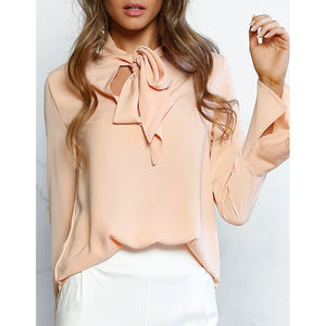 Stand Collar Lace Up Flare Sleeve Blouse
