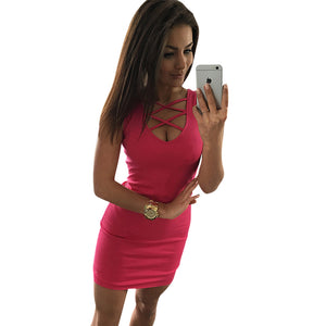 Solid Color U-Neck Cross-Belt Dress