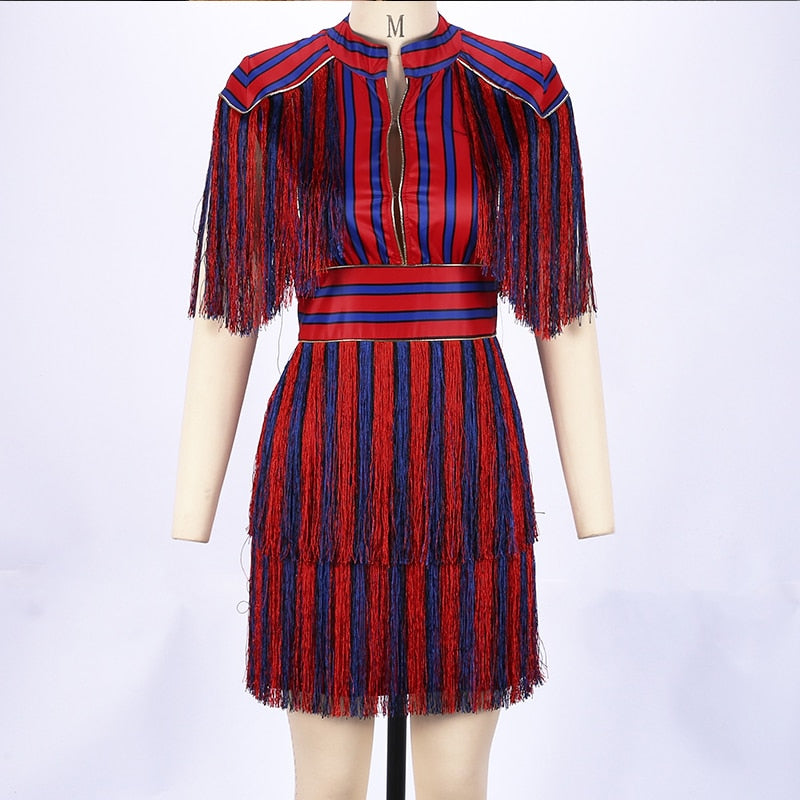 Red & Blue Striped Fringe Dress