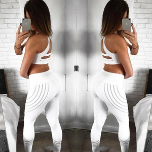 High Waist Elasticity Fitness Striped Pattern Print Leggings