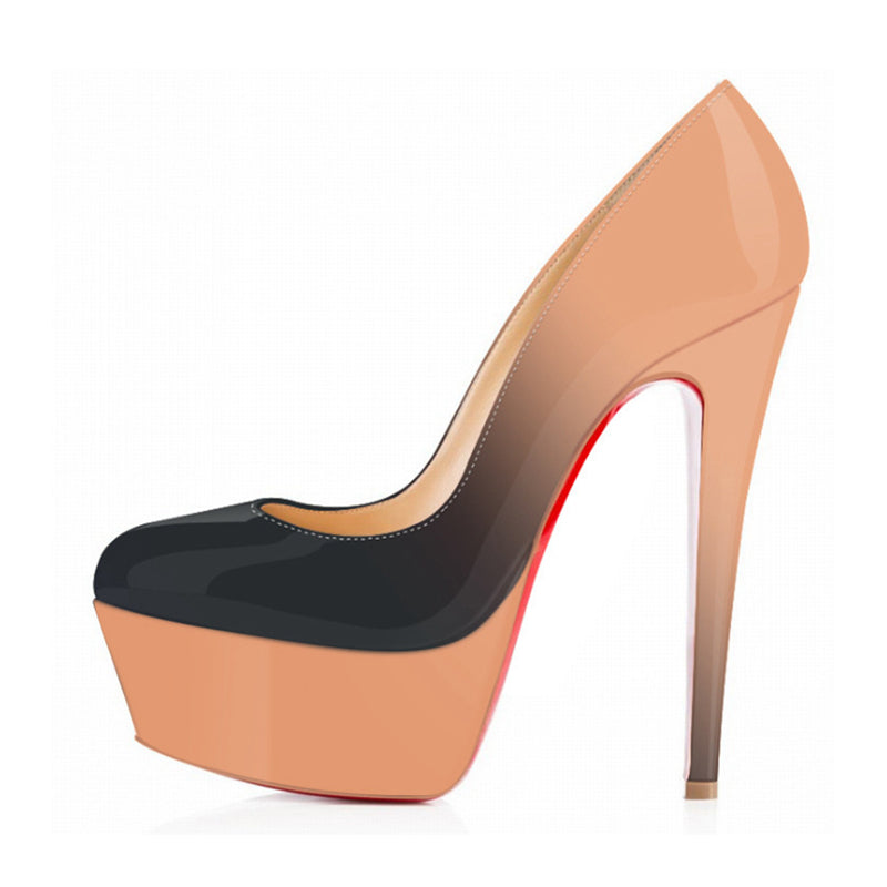 Gradient Colored Round Toe Stiletto Heels