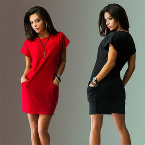 Casual Short Sleeve O-Neck T-shirt dress