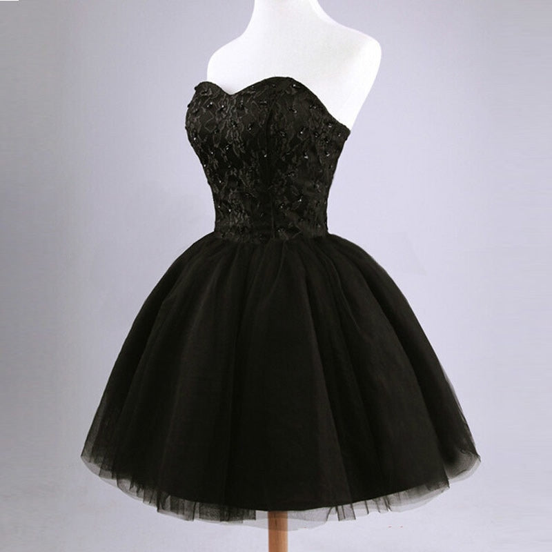 Black Lace Up Sweetheart Dress