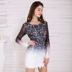 Long Sleeve Gradient Color Short Dress