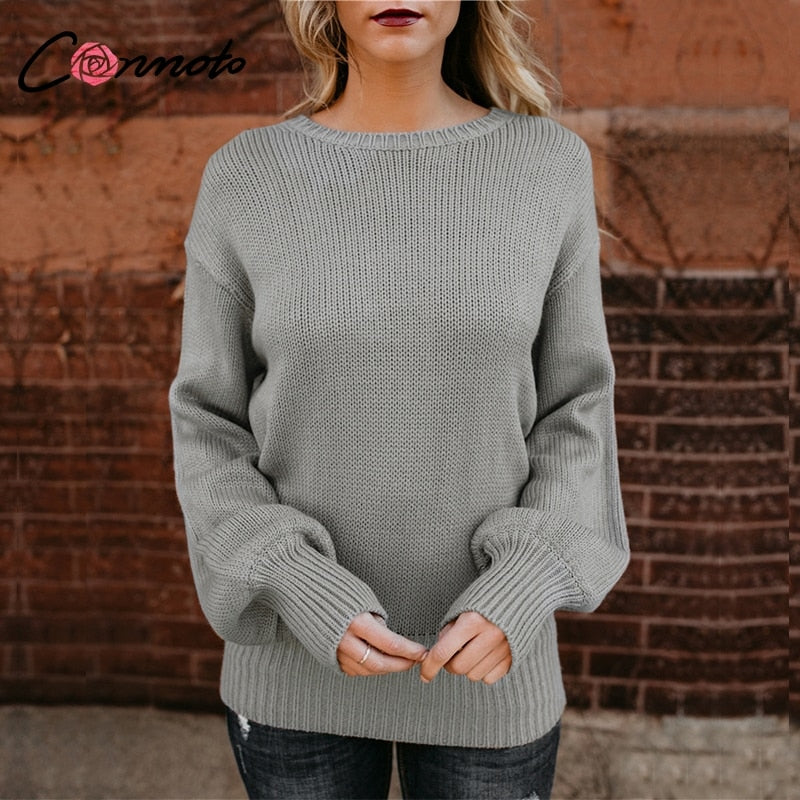 Backless Long Lantern Sleeve Knitted Sweater