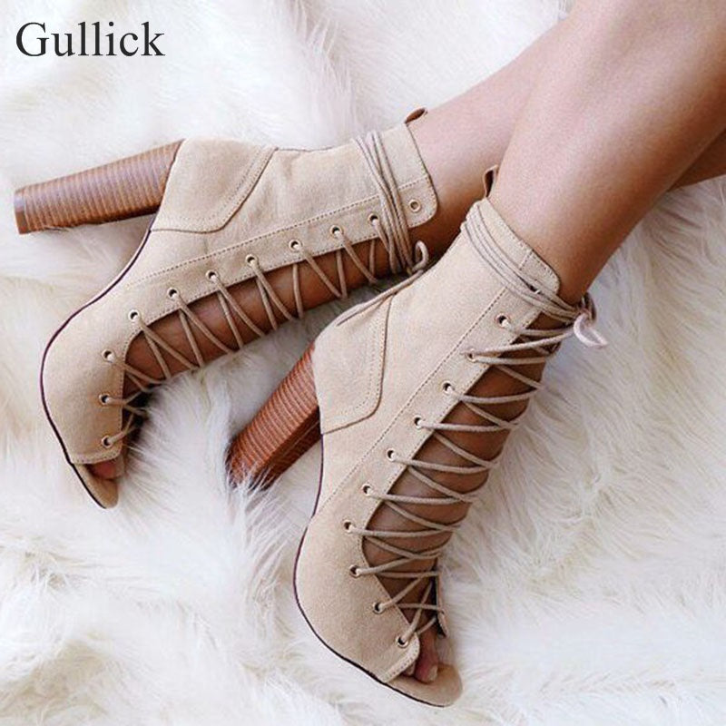 Peep Toe Lace-up Gladiator Heels