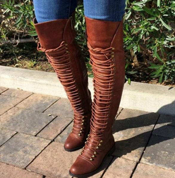 Knee High Booties Cross-tied Riding Boots