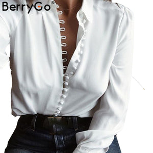 Elegant Long Sleeve White Blouse