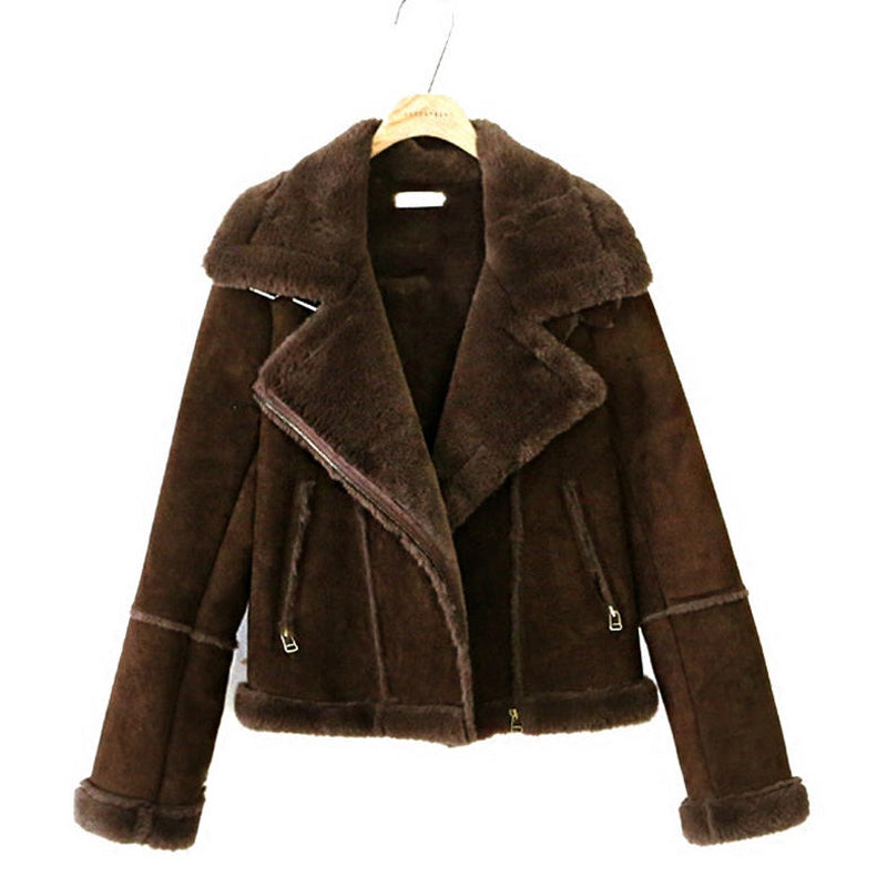 Suede Faux Wool Patchwork Coat