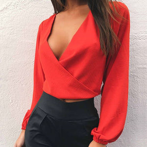 Deep V Neck Backless Full Sleeve Crop Top