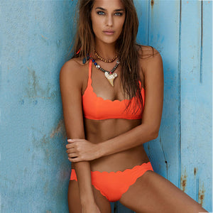 Orange Bandeau Cut Out Style Bikini