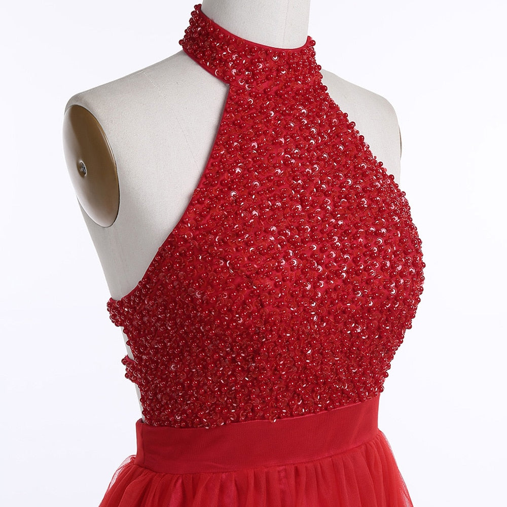 Berry Red Backless Red Dress