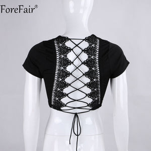 ForeFair Sexy Cross Lace Up T Shirt Women 2018 Summer Autumn Short Sleeve Backless Crop Shirt Pink Ladies Top