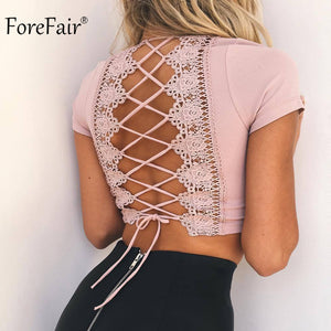 Backless Lace Up Crop Top