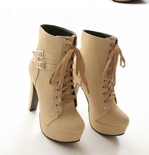 Lace Up Ankle Boots High Heels