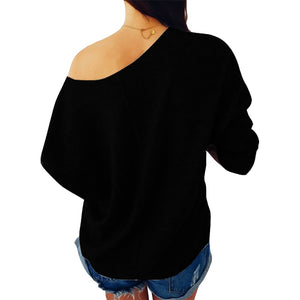 Off Shoulder Fashion Sequined Pocket Pullover