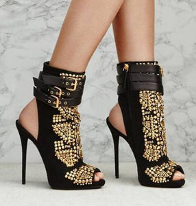 Studded Rivets Buckle Strap Peep Toe Heels