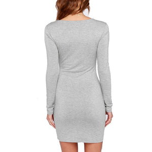 Long Sleeve Solid Color Dress