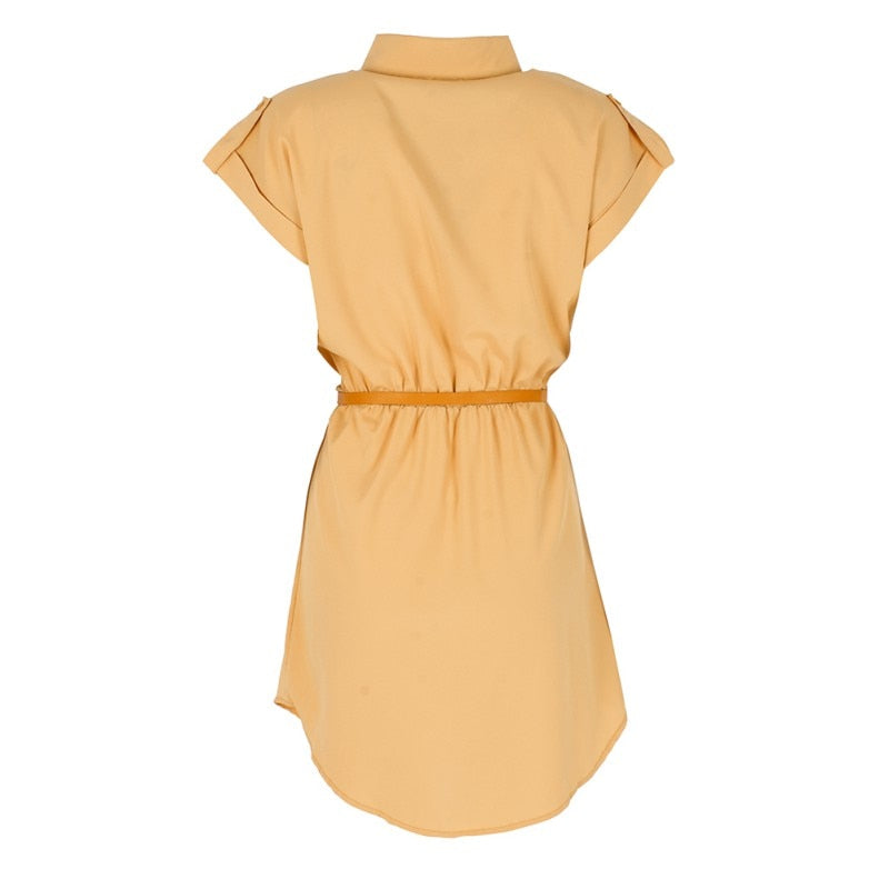 Short Sleeve Belted Waist Dress
