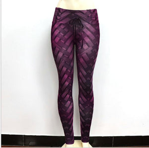 Weaving Printed Tie Women Fitness Workout Leggings