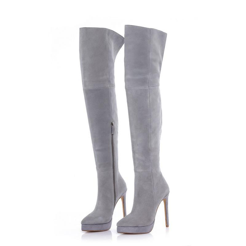 14cm Stiletto Grey Suede Platform Thigh High Boots