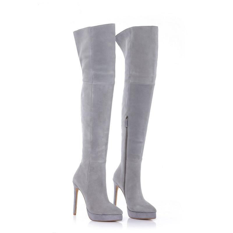 c25d21b7715 14cm Stiletto Grey Suede Platform Thigh High Boots – The Babe Force