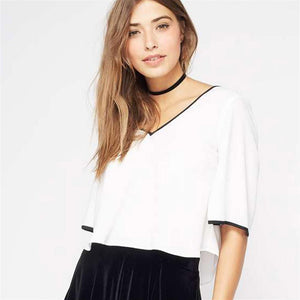 White Chiffon Back Bow Tie Shirt