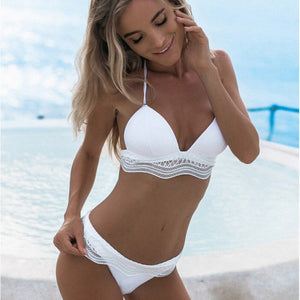 Halter Neck Spliced Lace Retro Swimsuit