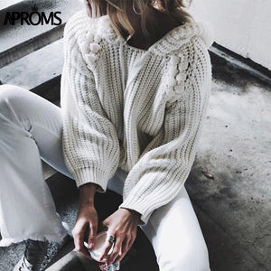 Hooded Knit Sweater Pullover
