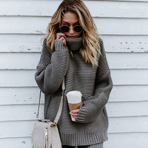 Thick Knitted Over Sized Turtleneck Sweater