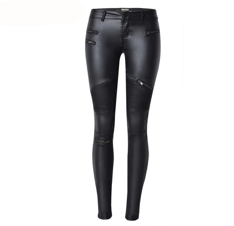 Black Motorcycle Streetwear PU Leather Legging Pants