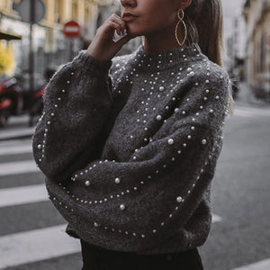 Pearl Beading Turtle Neck Sweater