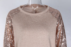 Women Sequine Long Sleeve T-Shirt