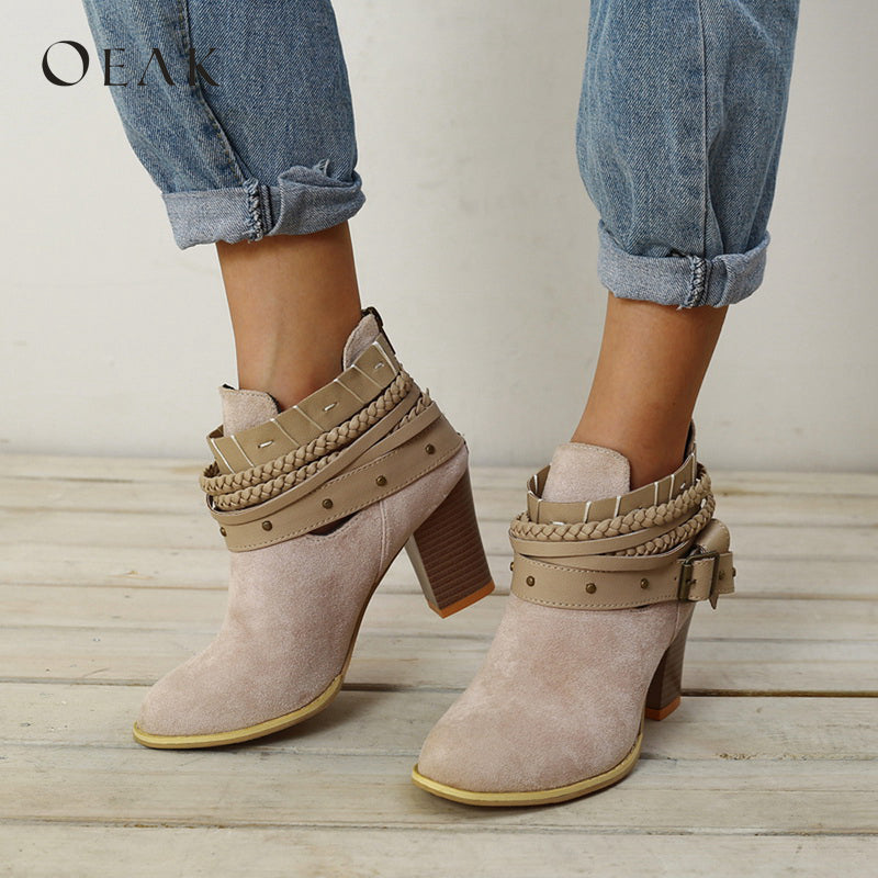 Suede Cut Out Ankle Boots