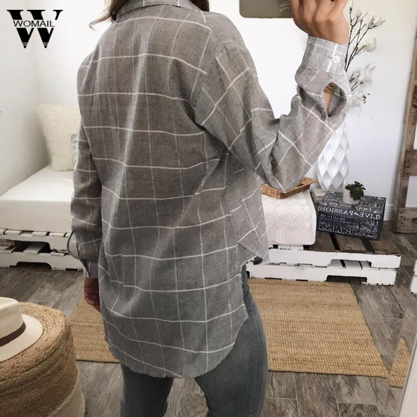 Long Sleeve Loose Plaid Shirt